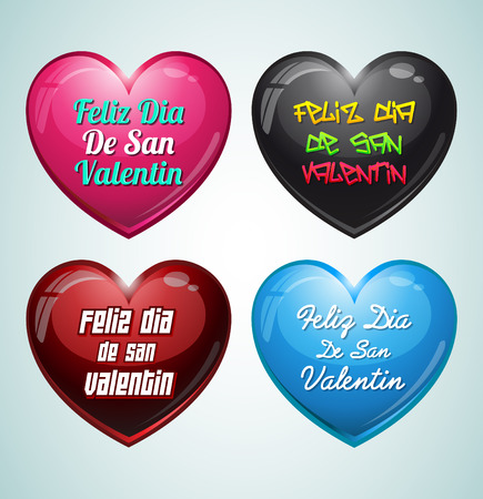 Set of hearts - Feliz San Valentin - Happy valentines day in spanish language Ilustrace