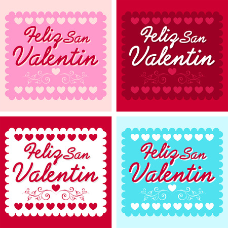 14 february: Feliz San Valentin - Happy valentines day in spanish language - vector set - cards collection