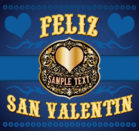 フェリスさん Valentin - 幸せなバレンタインのスペイン語のテキスト - カウボーイ西洋スタイル カード