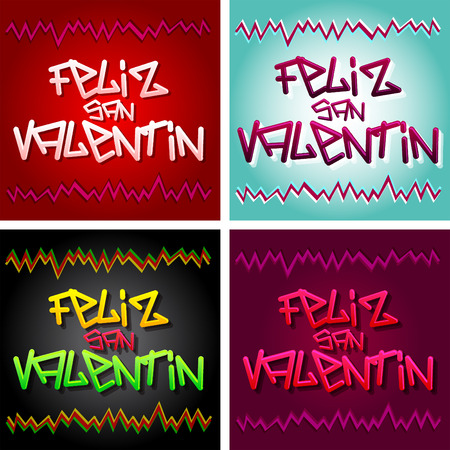 san valentin: Feliz San Valentin - Happy Valentines spanish text - vector urban style lettering - collection set