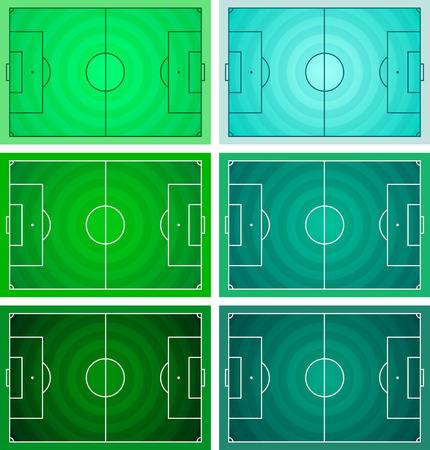 축구 - 축구장, 원형 잔디 질감 - 녹색 색상 다양 한 벡터 설정
