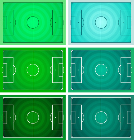 Football - Soccer field, Circular grass texture - Green color variety vector set