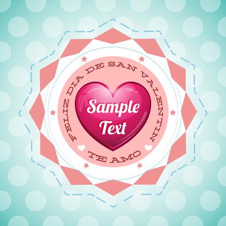 san valentin: Feliz Dia de San Valentin - Happy Valentines Day spanish text - vector card template - ready for your text