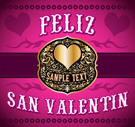san valentin: Feliz San Valentin - Happy Valentines spanish text - cowboy  western style card