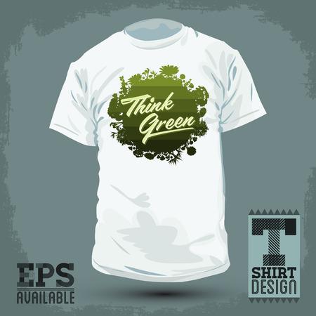 vegetation: Graphic T- shirt design - Think Green - shirt print, Creative Eco Vector Design Element. Organic Bio sphere With vegetation.