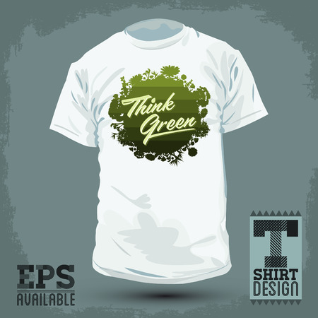 Graphic T- shirt design - Think Green - shirt print, Creative Eco Vector Design Element. Organic Bio sphere With vegetation.