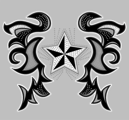 Rockstar Abstract design, t-shirt - jacket design with stitches and rivets - vector illustration.