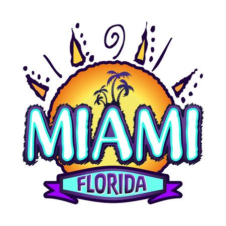miami florida: Miami Florida - isolated badge - emblem - summer tropical icon
