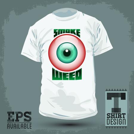 red eye: Graphic T- shirt design - Smoke weed badge - red eye icon Vector illustration - shirt print Illustration