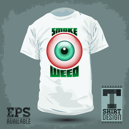 Graphic T- shirt design - Smoke weed badge - red eye icon Vector illustration - shirt print 矢量图像