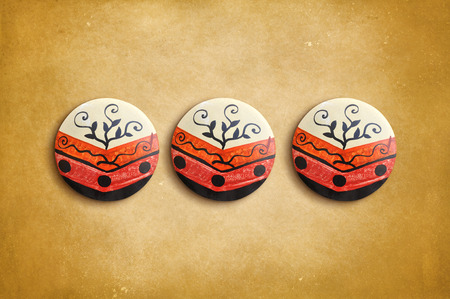 industrial decor: Mexican ceramic decoration on a vintage background