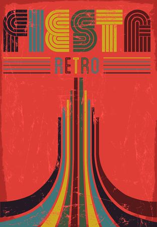 Vintage Fiesta retro poster illustration - card template illustration