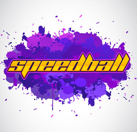 Speedball - is a format of Paintball gaming, icon, colorful vector banner Çizim