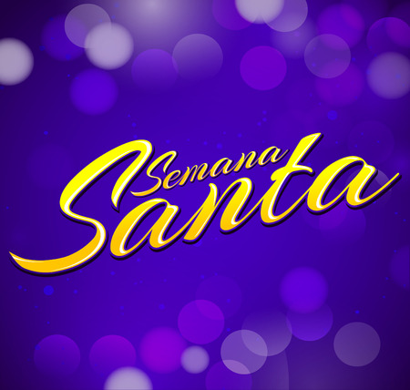 Semana Santa - Holy Week spanish text - vector lettering, Latin religious tradition before Easter Иллюстрация