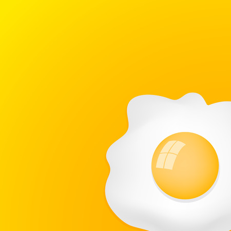 Fried Egg with yellow background, breakfast fried hen or chicken egg - ready for your text