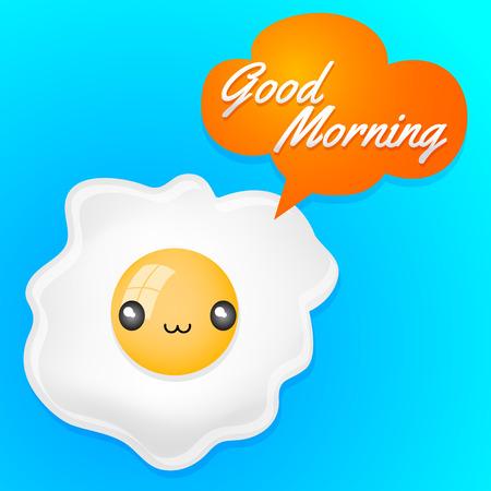 Good Morning - Cute fried egg with balloon card - anime kawaii style