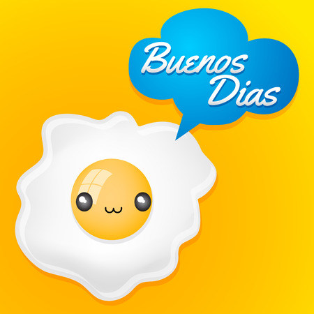 buenos: Buenos Dias- Good morning spanish text - Cute fried egg with balloon - anime kawaii style