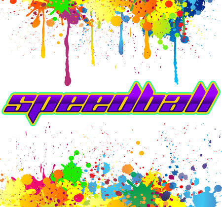 Speedball - is a format of Paintball gaming, icon, colorful vector banner Ilustração