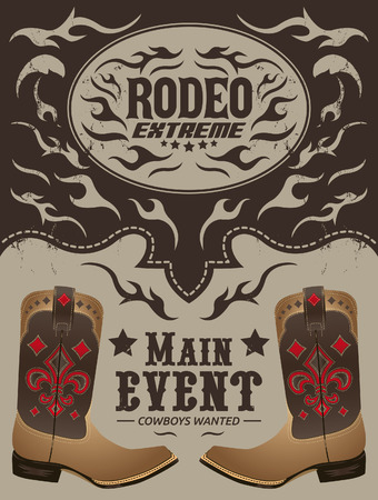 traditional events: Rodeo Extreme - Cowboy event poster vector - invitation template Illustration