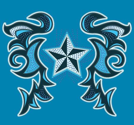 rockstar: Rockstar modern design, t-shirt - jas ontwerp met steken en klinknagels - vector illustratie.
