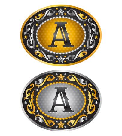A - 最初のベルトのバックルをカウボーイ - アルファベット ベクトル デザイン