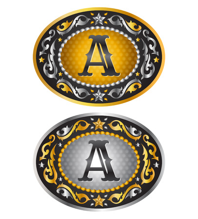 belt buckle: Letter A - Cowboy belt buckle initial - Alphabet vector design Illustration
