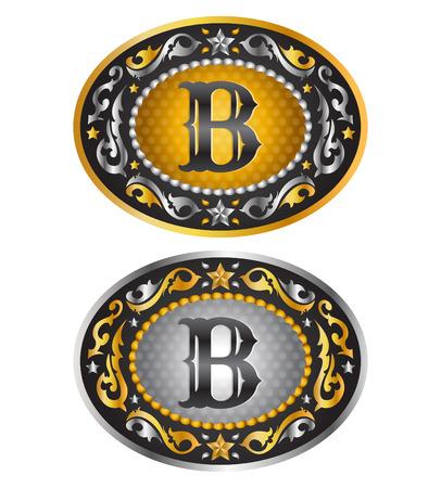 手紙 B - 最初のベルトのバックルをカウボーイ - アルファベット ベクトル デザイン