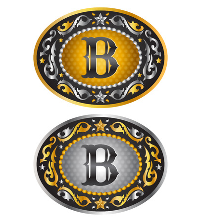 leather belt: Letter B - Cowboy belt buckle initial - Alphabet vector design