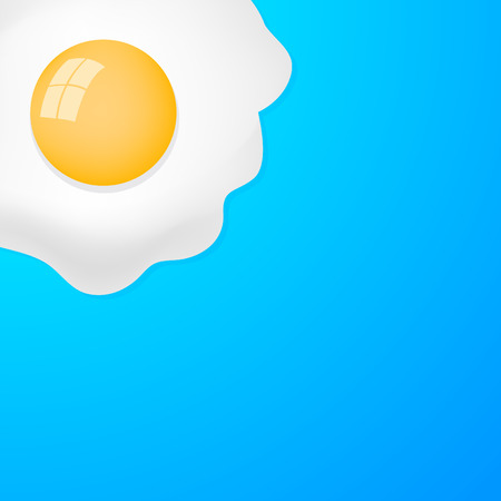 fried egg: Fried Egg with blue background, breakfast fried hen or chicken egg - ready for your text