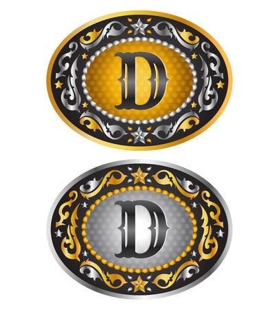Letter D - Cowboy belt buckle - Alphabet vector design