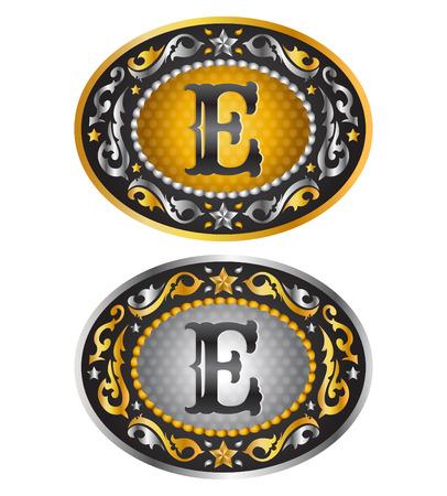 E - カウボーイ ベルト バックル - アルファベット ベクター デザインを手紙します。