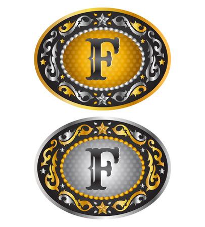 Letter F - Cowboy belt buckle - Alphabet vector design