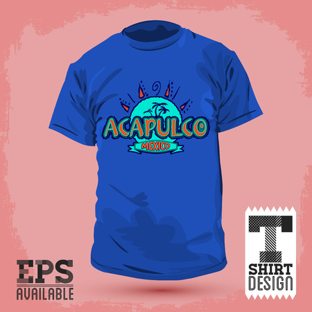 Graphic T- shirt design - Acapulco Mexico - Vector illustration - shirt print Ilustração