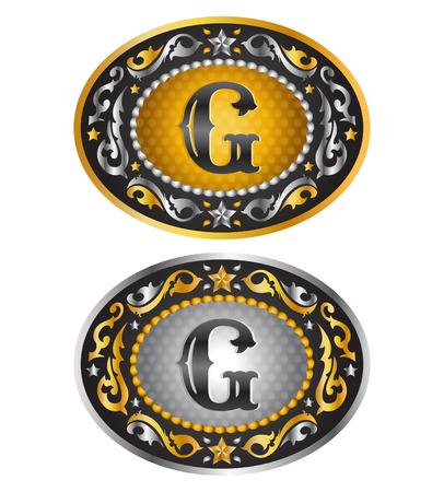 gold buckle: Letter G - Cowboy belt buckle - Alphabet vector design