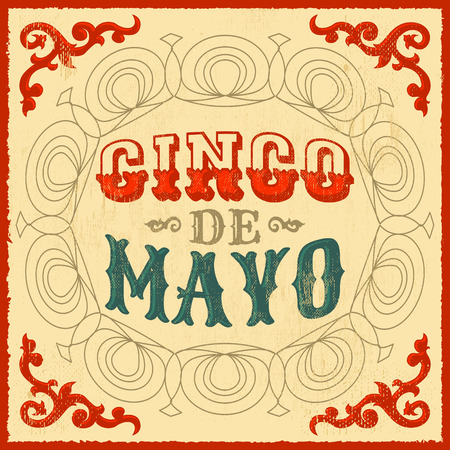 Cinco de mayo - vintage mexican traditional holiday design - vector poster card  イラスト・ベクター素材