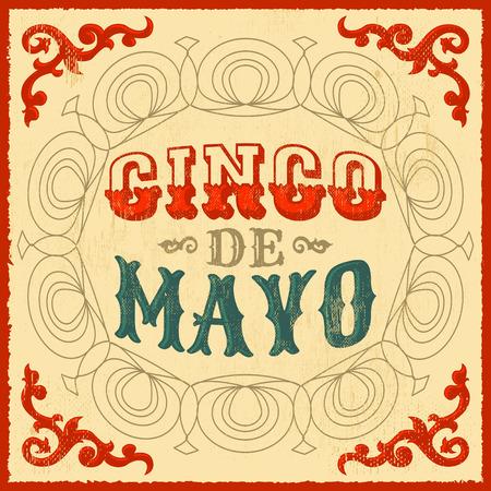 Cinco de mayo - vintage mexican traditional holiday design - vector poster card Vettoriali