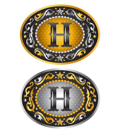 gold buckle: Letter H  Cowboy belt buckle  Alphabet vector design Illustration