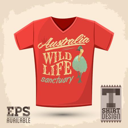 t shirt print: Gr�fico T shirt design Vector santuario de vida salvaje ilustraci�n camisa de la impresi�n de Australia