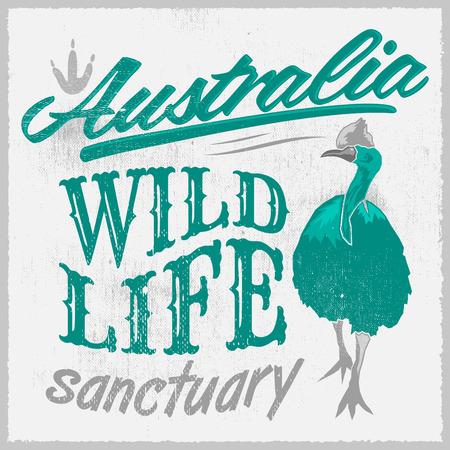 Vintage T Shirt design, Australian Wild Life print illustration Vector