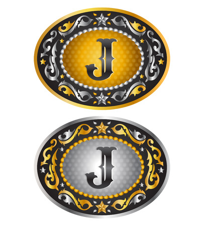 buckle: Letter J  Cowboy belt buckle  Alphabet vector design