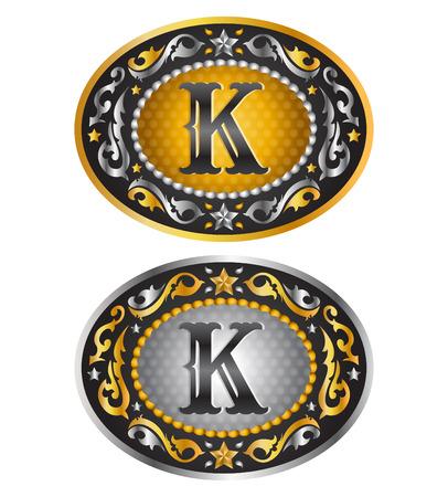 手紙 K カウボーイ ベルト バックル アルファベット ベクトル デザイン