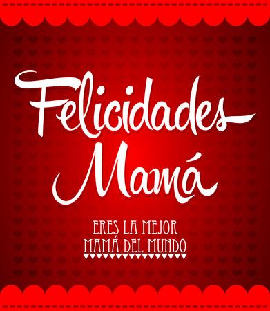 Felicidades Mama Congrats Moeder spaans tekst Vintage vector illustratie Stock Illustratie