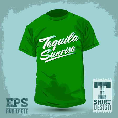 t bar: Graphic T shirt design  Tequila sunrise  Vector illustration  shirt print Illustration