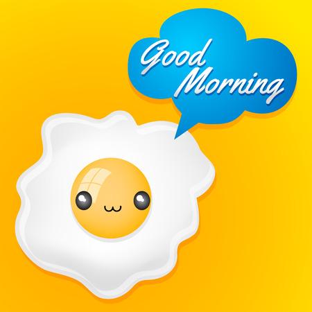 Good Morning  Cute fried egg with balloon card  anime kawaii style