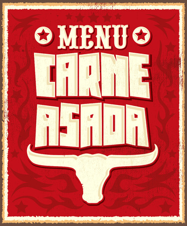 western food: Carne asada roast meat  barbecue spanish text menu  vector lettering design  western style