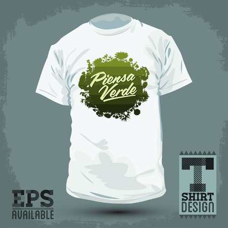 Graphic T shirt design  Piensa Verde  Think Green Spanish text  lettering  Organic Bio sphere With vegetation