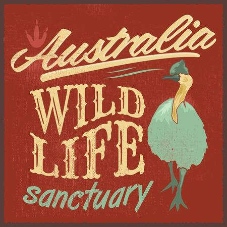 t shirt print: Vintage T  Shirt design  Australian Wild Life vector print illustration