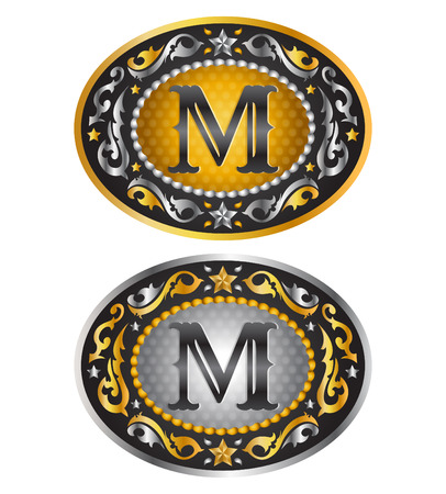cooper: Letter M Cowboy belt buckle. Alphabet vector design Illustration