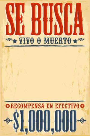 Se busca vivo o muerto Wanted dead or alive poster spaans tekst sjabloon Een miljoen beloning Stock Illustratie