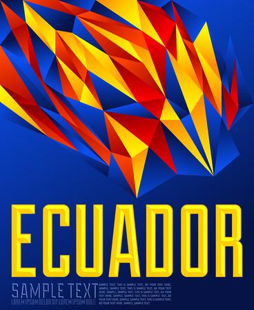 Ecuador  Vector geometric background  modern flag color concept  ecuadorian colors Ilustração